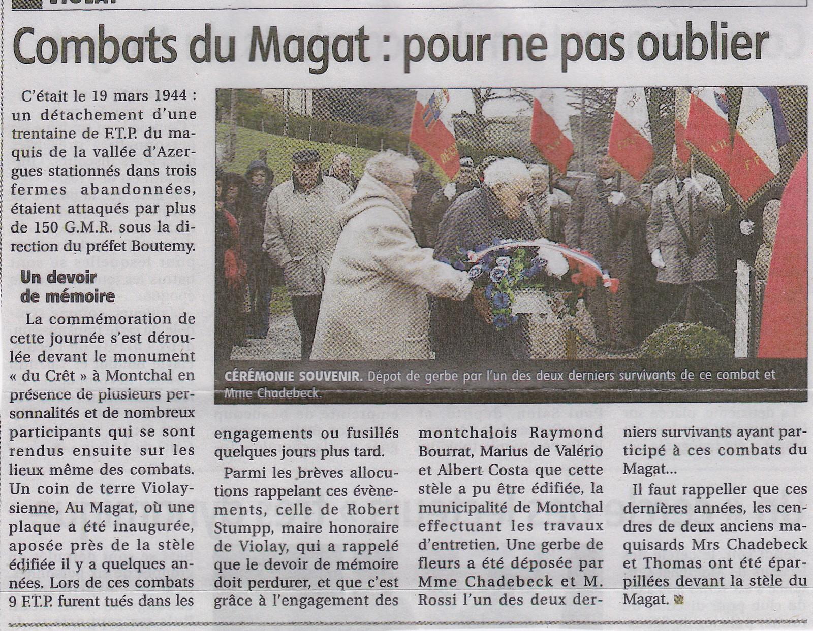 C r monies de montchal 17 mars 2013 maquis rh ne azergues - Le journal le pays d auge ...